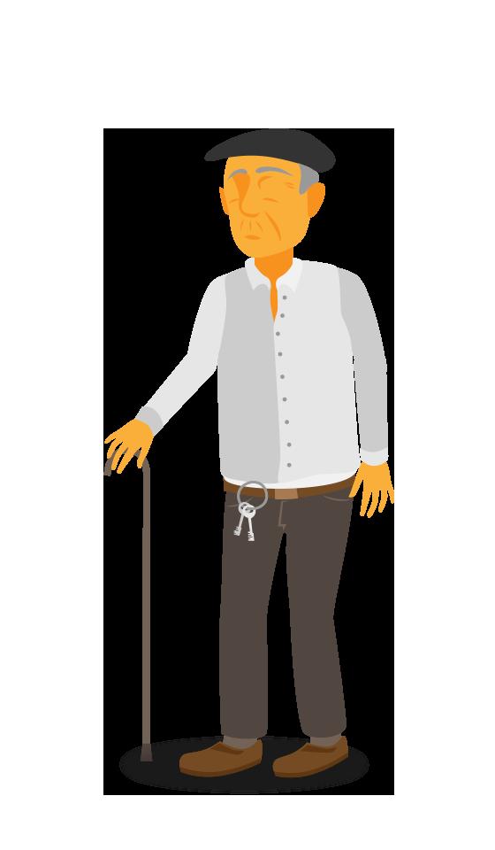 Abuelo con baston